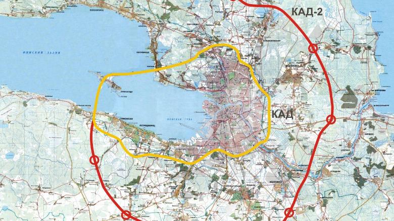 Кад 2 вокруг петербурга схема