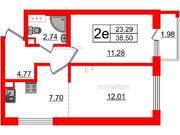 МЖК «Inkeri», планировка 1-комнатной квартиры, 38.50 м²
