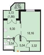 МЖК «Горки Парк», планировка 1-комнатной квартиры, 41.81 м²