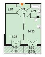 МЖК «Горки Парк», планировка 1-комнатной квартиры, 45.43 м²