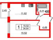 МЖК «Inkeri», планировка 1-комнатной квартиры, 34.84 м²