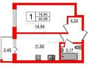 МЖК «Inkeri», планировка 1-комнатной квартиры, 33.98 м²