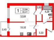 МЖК «Inkeri», планировка 1-комнатной квартиры, 35.41 м²