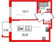 МЖК «Inkeri», планировка 1-комнатной квартиры, 39.62 м²