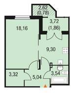 МЖК «Горки Парк», планировка 1-комнатной квартиры, 42.00 м²
