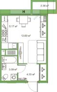 ЖК «LEGENDA Комендантского», планировка студии, 26.00 м²