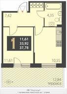 МЖК «Наутилус», планировка 1-комнатной квартиры, 37.78 м²