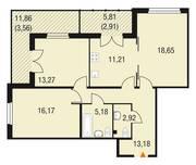 МЖК «Горки Парк», планировка 3-комнатной квартиры, 87.05 м²