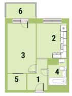 ЖК «Квартал Галактика», планировка 1-комнатной квартиры, 37.20 м²