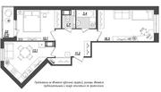 ЖК «Квартал Галактика», планировка 2-комнатной квартиры, 59.50 м²