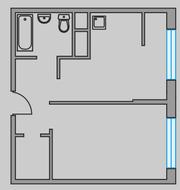 ЖК «Тринити», планировка 1-комнатной квартиры, 42.70 м²