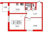 МЖК «Inkeri», планировка 2-комнатной квартиры, 64.14 м²