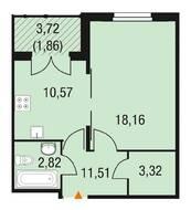 МЖК «Горки Парк», планировка 1-комнатной квартиры, 41.33 м²