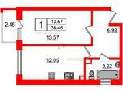 МЖК «Inkeri», планировка 1-комнатной квартиры, 36.46 м²