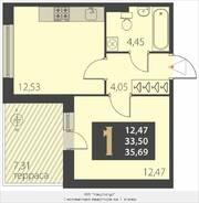 МЖК «Наутилус», планировка 1-комнатной квартиры, 35.69 м²
