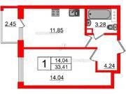 МЖК «Inkeri», планировка 1-комнатной квартиры, 33.41 м²