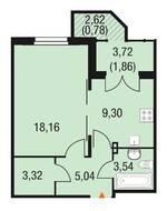 МЖК «Горки Парк», планировка 1-комнатной квартиры, 41.90 м²