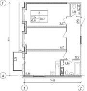 ЖК «UP-квартал «Пушкинский», планировка 2-комнатной квартиры, 66.67 м²