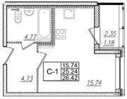 ЖК «Квартал Галактика», планировка студии, 26.42 м²